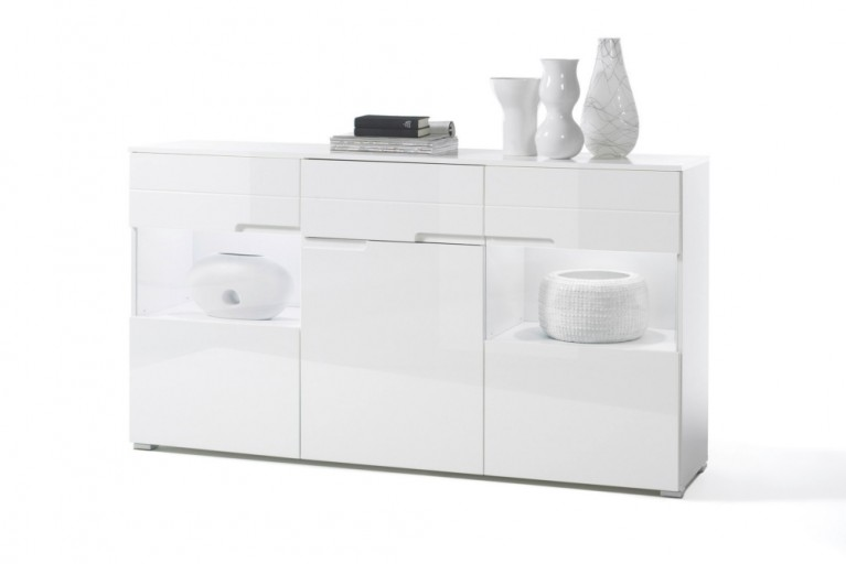 Design Sideboard SPICE 165cm weiß Hochglanzfront inkl. Beleuchtung