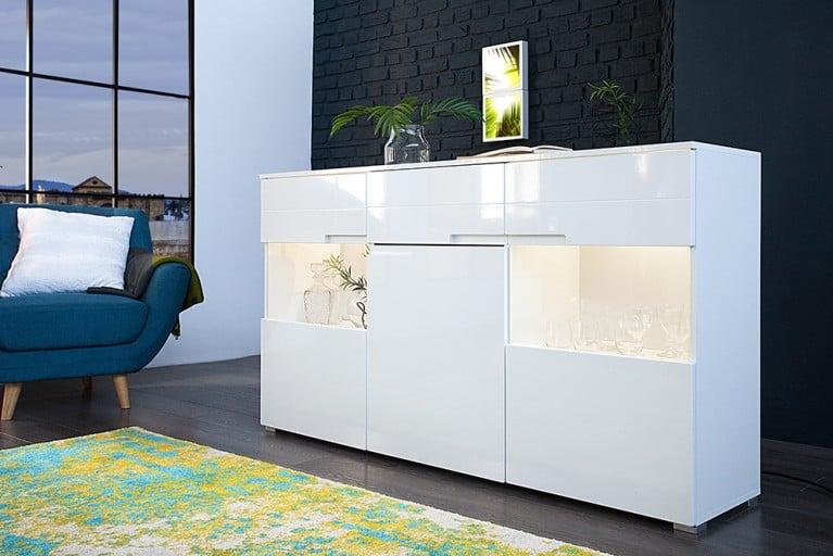 Design Sideboard CLUB 165cm weiß Hochglanz inkl. Beleuchtung