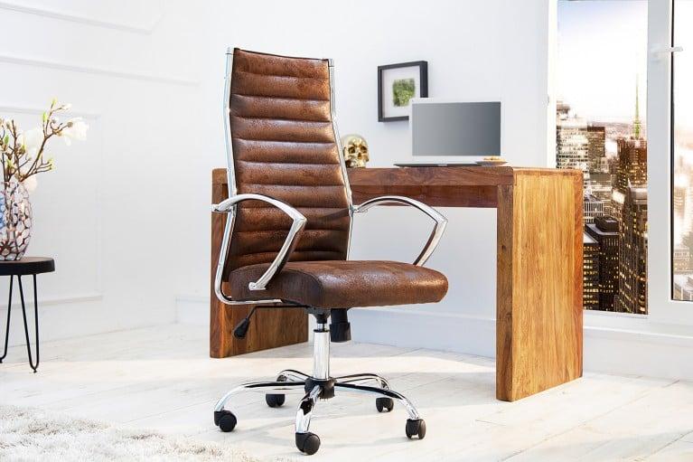 Ergonomischer Design Bürostuhl BIG DEAL antik coffee Chefsessel mit hochwertig verchromten Armlehnen