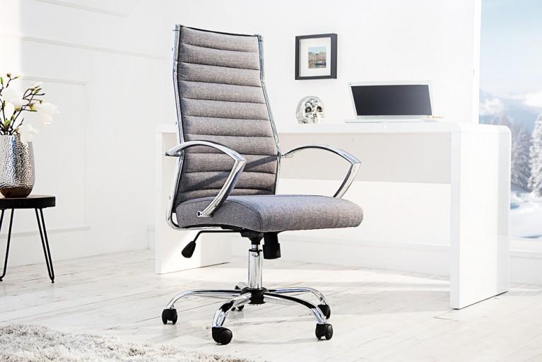 Ergonomischer Design Bürostuhl BIG DEAL grau Chefsessel höhenverstellbar mit hochwertig verchromten Armlehnen