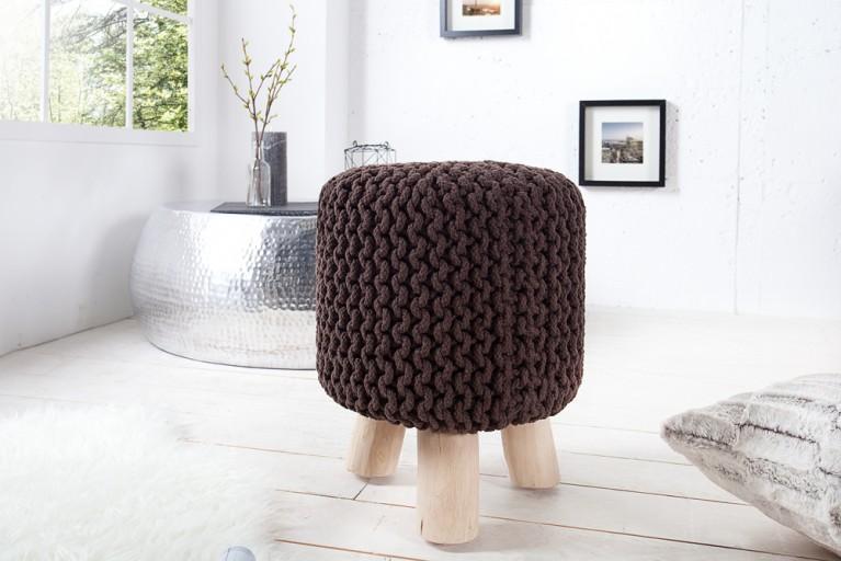 Design Sitzhocker LEEDS aus Strick dark coffee 45cm mit Holzfüßen Baumwolle in Handarbeit