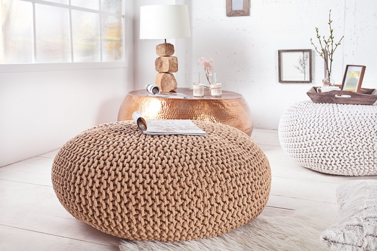 Design Strick Pouf LEEDS XXL coffee 80cm Hocker Baumwolle in Handarbeit Sitzkissen