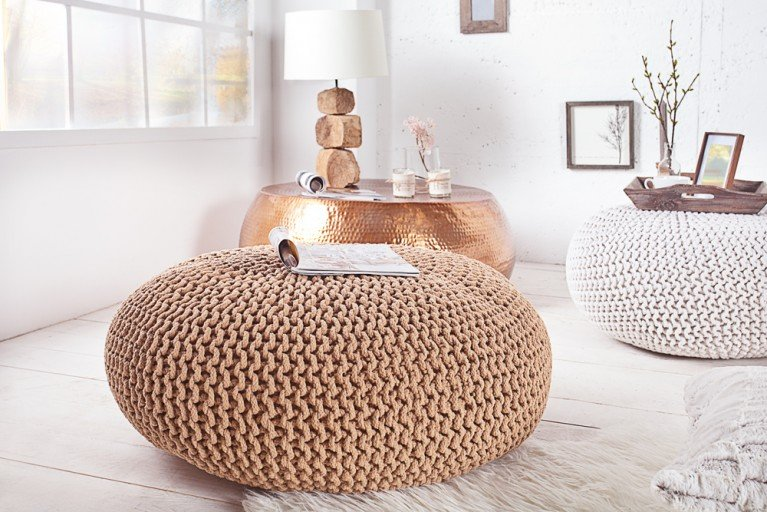 Design Strick Pouf LEEDS XXL coffee 80cm Hocker Baumwolle in Handarbeit