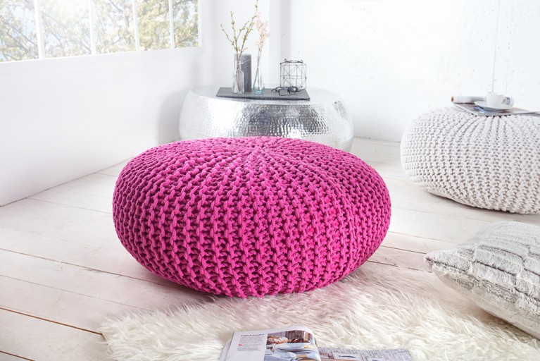 Design Strick Pouf LEEDS XXL pink 70cm Hocker Baumwolle in Handarbeit Sitzkissen