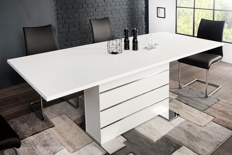Ausziehbarer Design Esstisch VIENNA 160-200cm Weiß Matt
