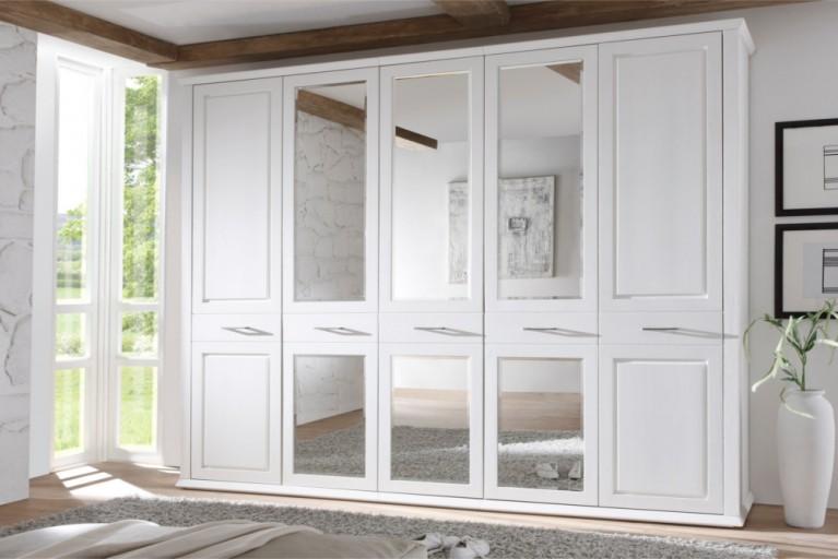 Klassischer Design Drehtürenschrank LYON 265cm Kiefer massiv weiß Kleiderschrank
