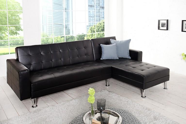 Design Ecksofa CHAISE LOUNGE mit Schlaffunktion schwarz beidseitig aufbaubar