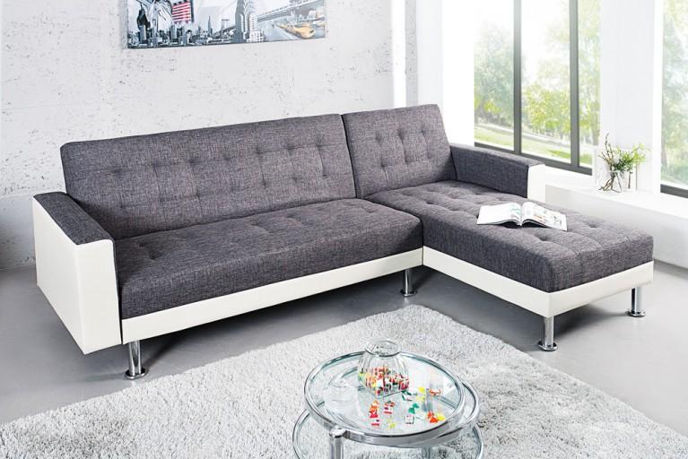 Design Ecksofa CHAISE LOUNGE mit Schlaffunktion weiß anthrazit beidseitig aufbaubar