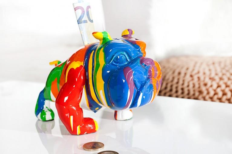 Design Spardose POP ART BULLDOGGE Kunstobjekt farbiger Hund handbemalt