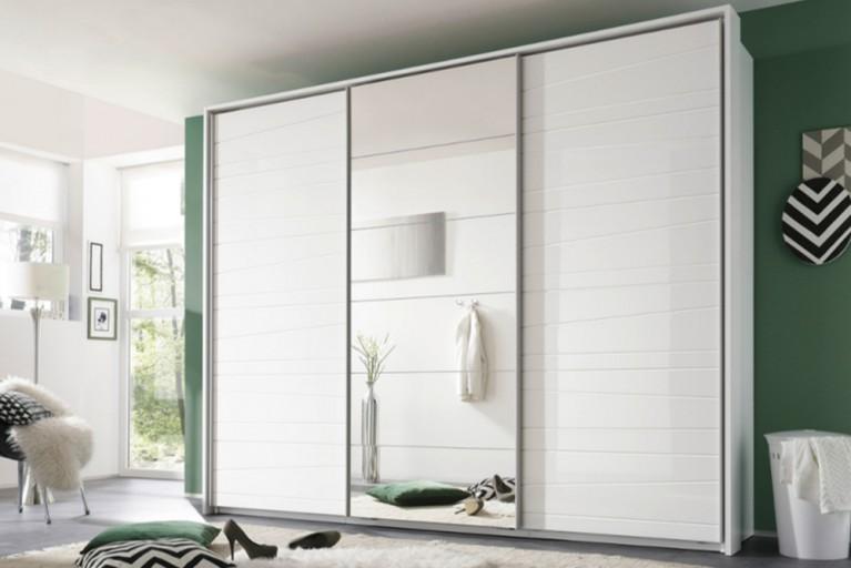 Moderner Design Schwebetürenschrank DOWNTOWN 270cm Hochglanzfront und Spiegelfläche