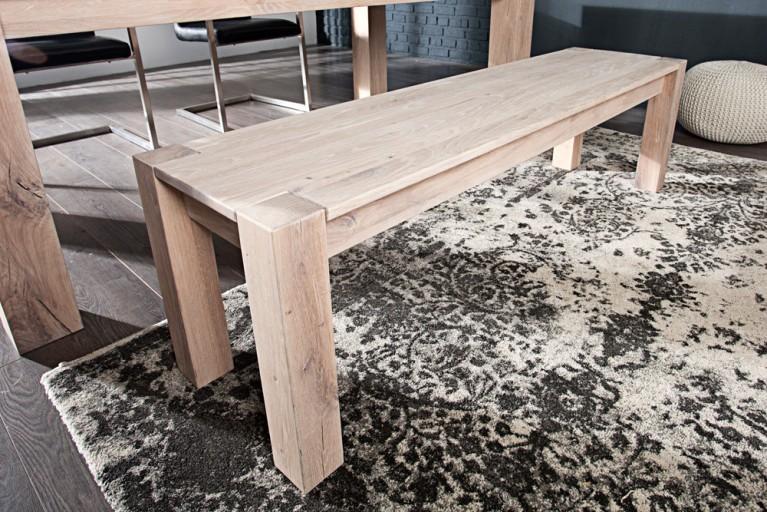 Massive Sitzbank WILD OAK 160cm weiß geölt made in EU