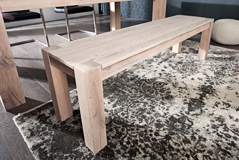 Massive Sitzbank WILD OAK 160cm weiß gekälkt  made in EU