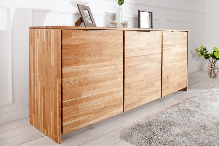 Massives Sideboard WILD OAK keilverzinkte Oberfläche 180cm geölt hochwertige Wildeiche made in EU