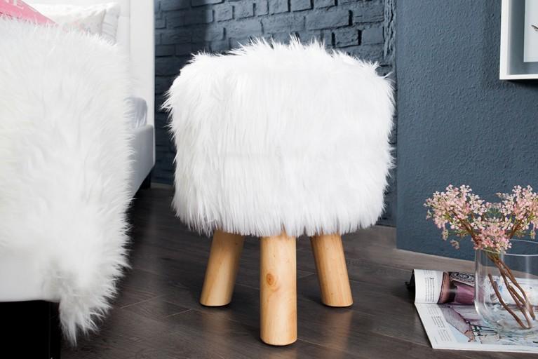 Design Fellhocker SIT weiß Sitzhocker mit Fell rund