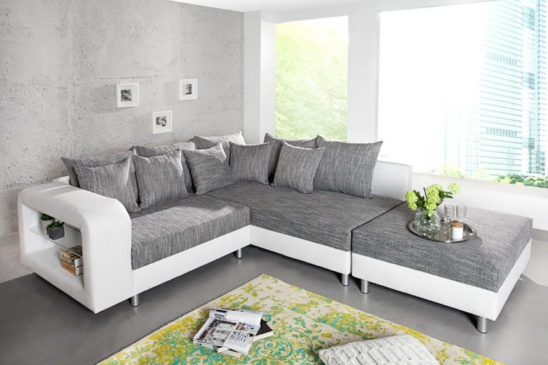 Design Ecksofa LIBERTY mit Hocker weiß Strukturstoff grau mit Ablagefach aus Glas OT rechts