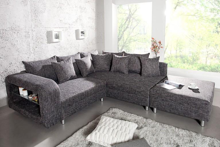 Design Ecksofa LIBERTY mit Hocker Strukturstoff grau anthrazit mit Ablagefach aus Glas OT rechts