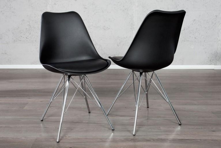 Retro Designklassiker Stuhl SCANDINAVIA MEISTERSTÜCK schwarz mit Stuhlbeinen aus Chrom