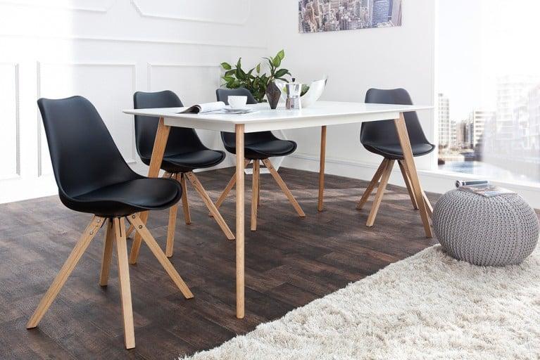 Stuhl SCANDINAVIA MEISTERSTÜCK Massivholzbeine schwarz im Retro Trend