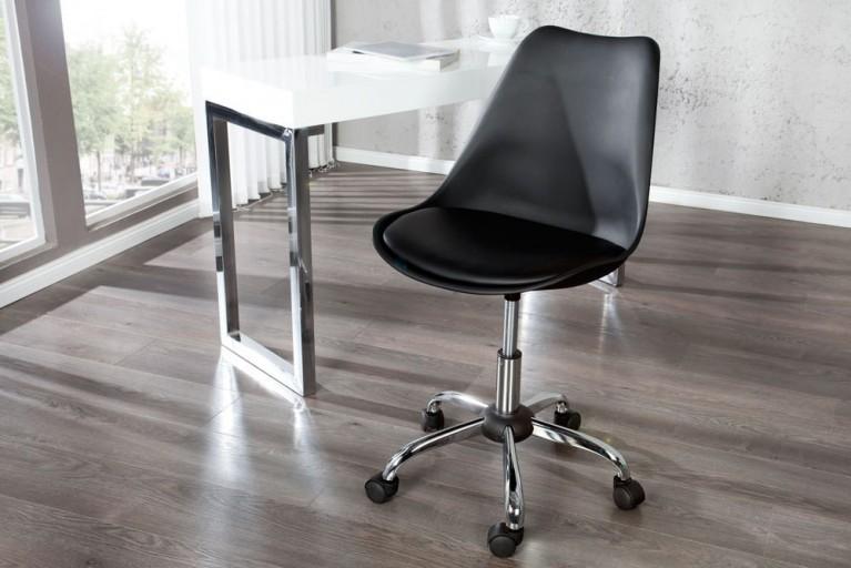 Retro Designklassiker Bürostuhl SCANDINAVIA MEISTERSTÜCK schwarz Stuhl mit hochwertig verchromten Stuhlgestell und Rollen