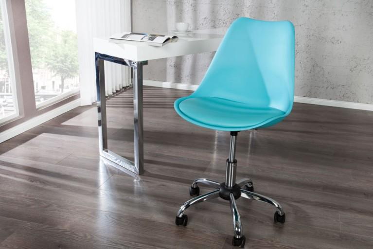 Retro Designklassiker Bürostuhl SCANDINAVIA MEISTERSTÜCK türkis Stuhl mit hochwertig verchromten Stuhlgestell und Rollen