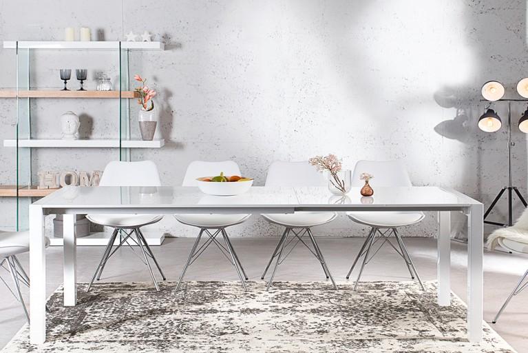 Ausziehbarer Design Esstisch X7 weiß Hochglanz 140-215 cm