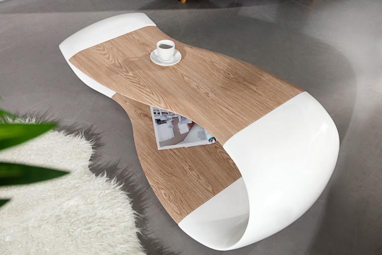 Couchtisch stream weiss hochglanz 115 cm riess ambiente for Moderner design couchtisch pull sonoma eiche hochglanz weiss 120 cm
