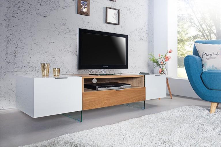 Design TV Lowboard ONYX weiss hochglanz Glas Eiche 160 cm
