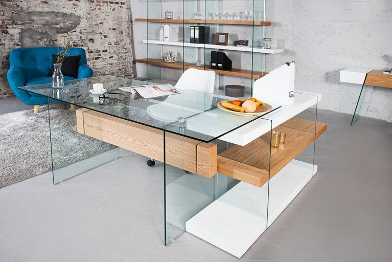 Design Schreibtisch ONYX Glas Eiche 160cm