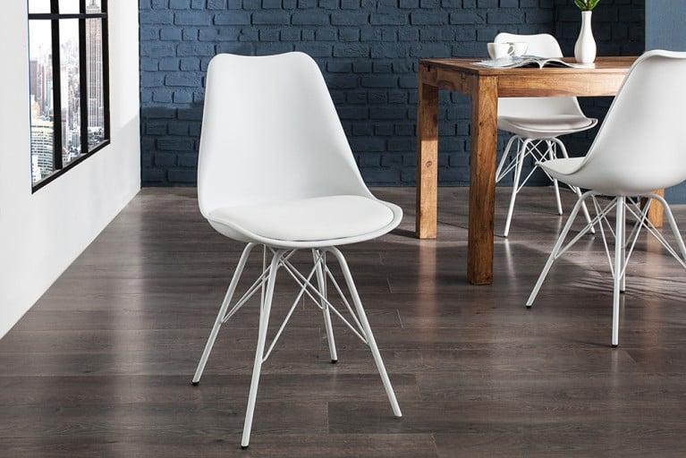Retro Stuhl SCANDINAVIA MEISTERSTÜCK weiß Designklassiker skandinavischer Wohnstil