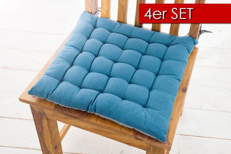 4er Set Design Sitzkissen SUMMER 40x40cm 2-farbig türkis grau