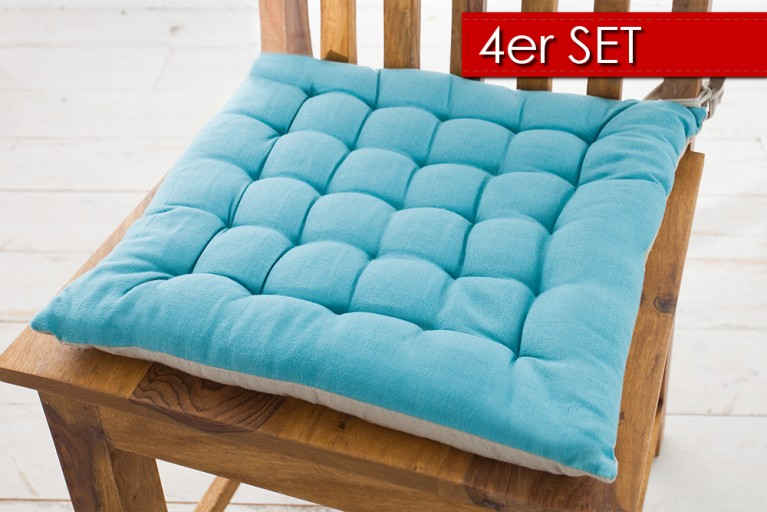 4er Set Design Sitzkissen SUMMER 40x40cm 2-farbig aquamarin hellgrau