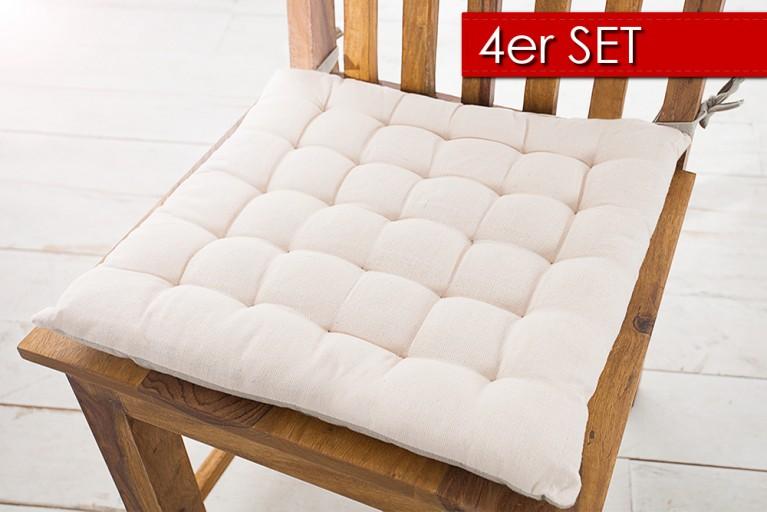 4er Set Design Sitzkissen SUMMER 40x40cm 2-farbig nude hellgrau