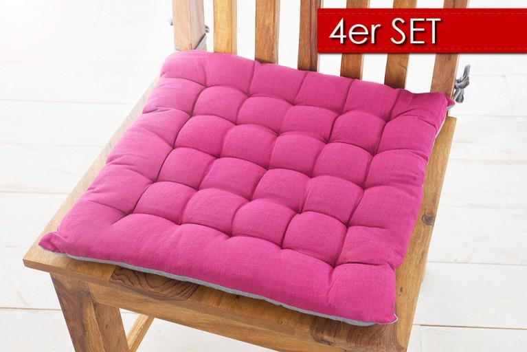 4er Set Design Sitzkissen SUMMER 40x40cm 2-farbig pink grau