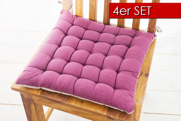 4er Set Design Sitzkissen SUMMER 40x40cm 2-farbig berry hellgrau