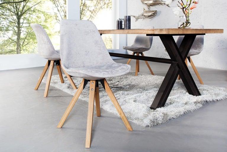 Stuhl SCANDINAVIA MEISTERSTÜCK Massivholzbeine hochwertiges Komfort Hochflor Stoffgewebe im Retro Trend