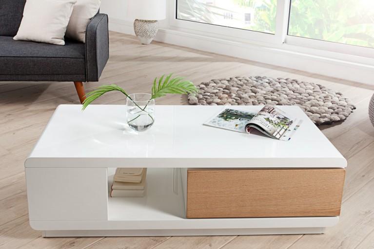 Moderner Design Couchtisch FORTUNA hochglanz weiss Echtholz Furnier Eiche mit funktioneller Schublade