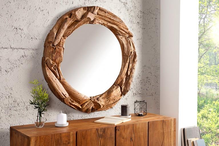 Massiver Treibholz Spiegel TRIBE 50 cm aus recyceltem Teakholz rund