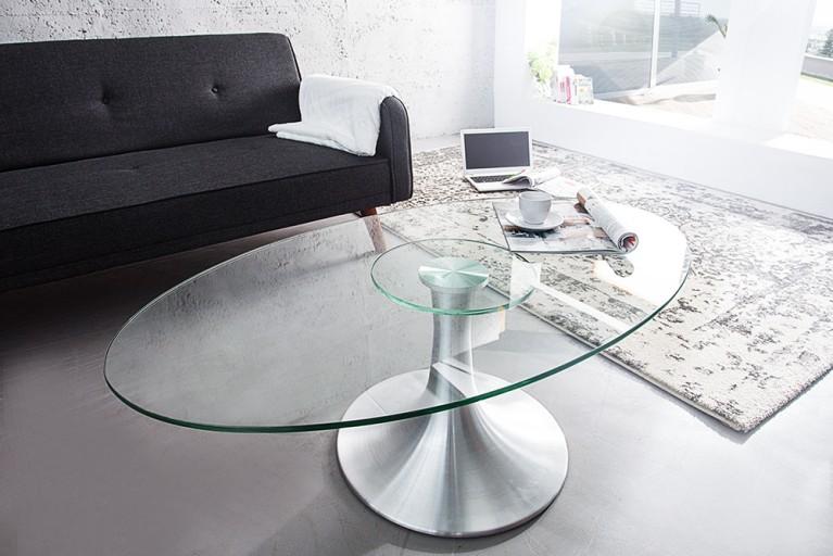 Stilvoller Couchtisch CIRCULAR Aluminium Glas 110cm Glastisch oval
