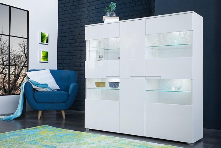 Design Highboard CLUB 145cm weiß High Gloss inkl. LED Beleuchtung