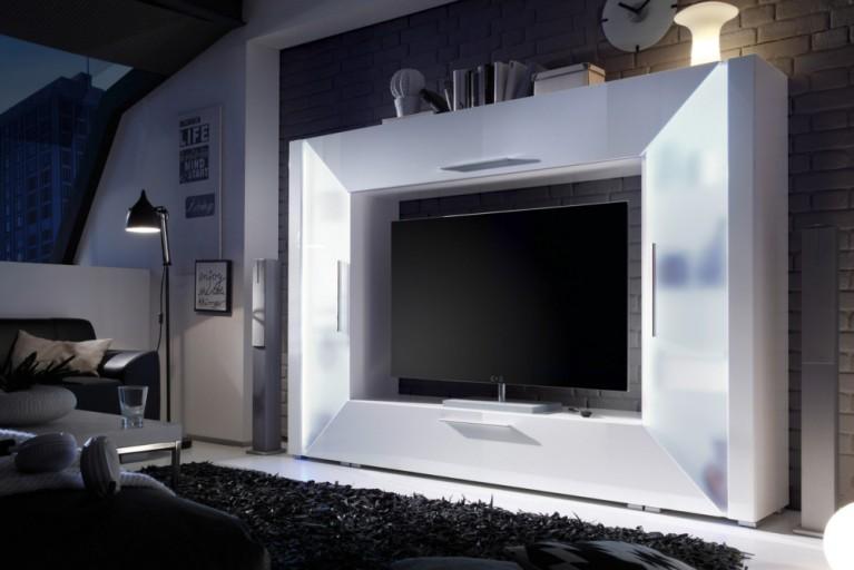 Modernes Design Mediencenter SPOTLIGHT weiß Hochglanzfront inkl. RGB Farbwechsler