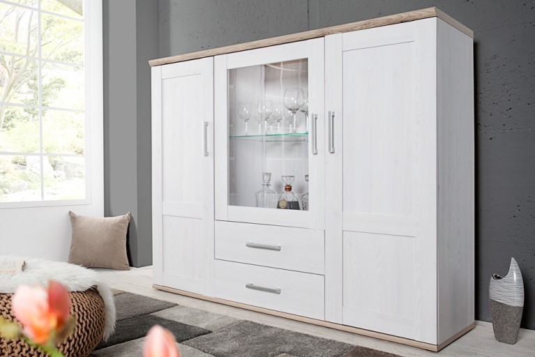Klassisches Design Highboard NOTTING HILL 155cm weiss San Remo hell inkl. LED Beleuchtung