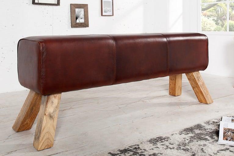 Design Sitzbank BOCK mit Echtleder Bezug 120 cm Kult Schulsport Bank