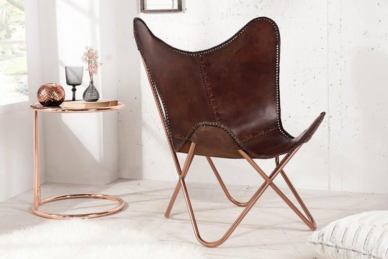 Designklassiker Lounge Sessel BUTTERFLY Echtleder braun Kupfergestell