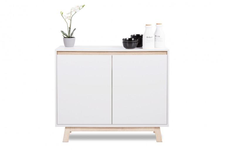 Modernes Design Sideboard STOCKHOLM 100cm weiß Sonoma Eiche mit wendbarer Front