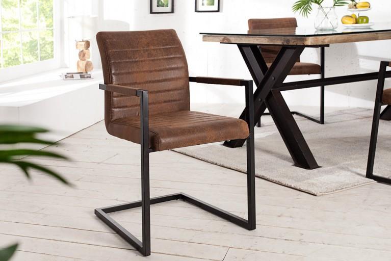 Freischwinger Stuhl EMPIRE Vintage braun mit gepolsterten Armlehnen und Eisengestell Schwingerstuhl