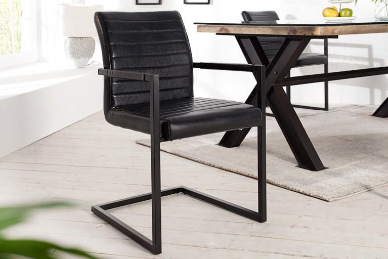 Freischwinger Stuhl EMPIRE antik schwarz mit gepolsterten Armlehnen und Eisengestell Schwingerstuhl
