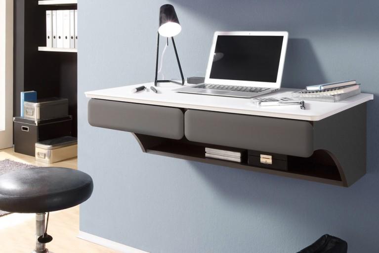 Individueller Design Schreibtisch hängend LEGLESS 90cm weiss / lava Laptop Tisch