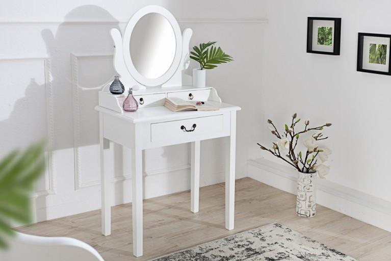 Schminktisch VENEZIA weiß 135 cm Frisierkommode mit Spiegel und Schublade