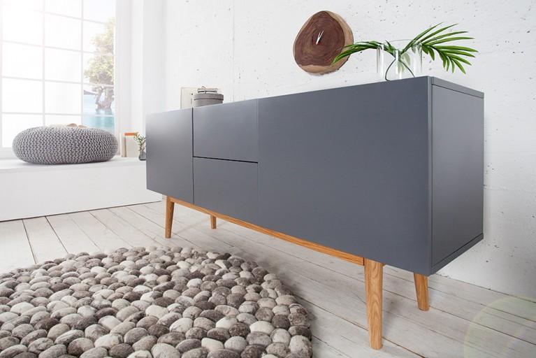 Design Sideboard LISBOA anthrazit 150cm auf einem Eichengestell