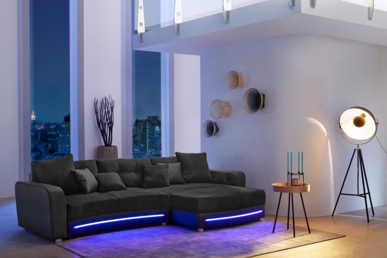 Design couchtisch district hochglanz mit led beleuchtung for Wohnlandschaft 370 cm